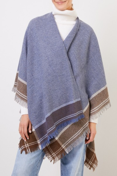 Bruno Manetti Wool cape with fringes Blue/Multi