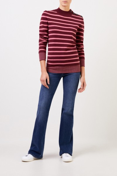 Stella McCartney Striped wool pullover with button detail Burgundy