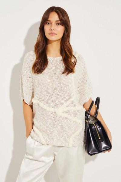 Baumwoll-Pullover mit Perlenverzierung Beige