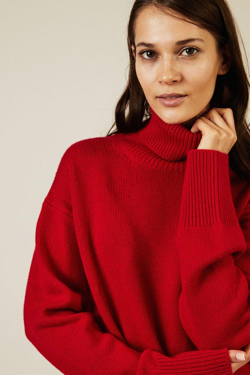 Woll-Cashmere-Rollkragenpullover Rot
