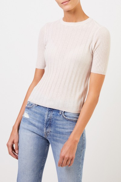 Vince Short sleeve cashmere rib knit sweater Beige