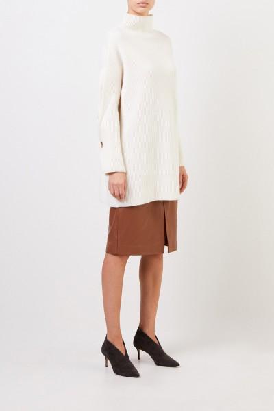 Woll-Cashmere-Pullover mit Hornknöpfen Crème