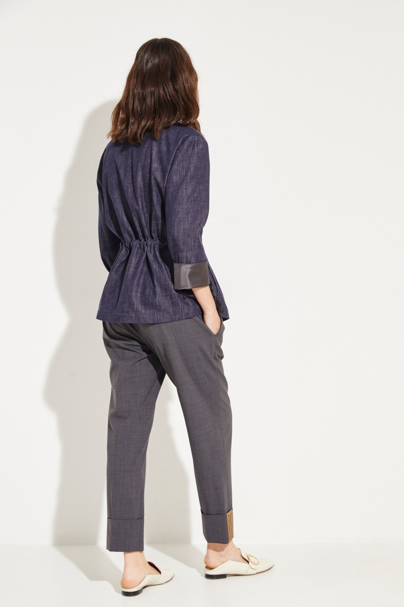 Jeansblazer mit Kordelzug Blau