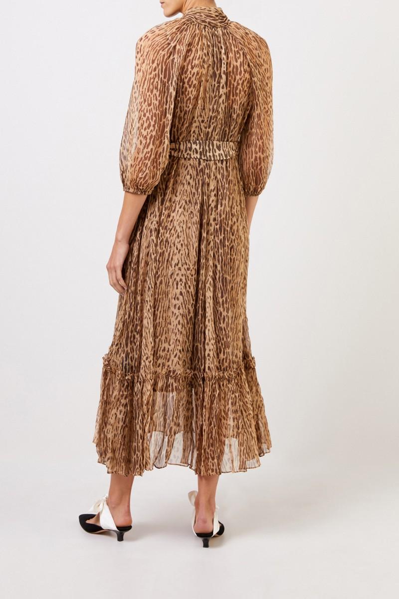 Langes zweiteiliges Seidenkleid mit Bindedetail Braun