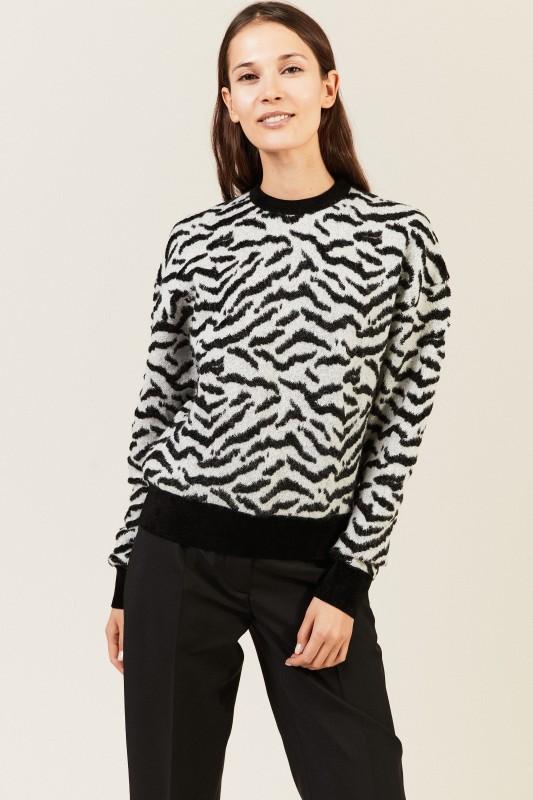 Strukturierter Pullover Grau/Schwarz