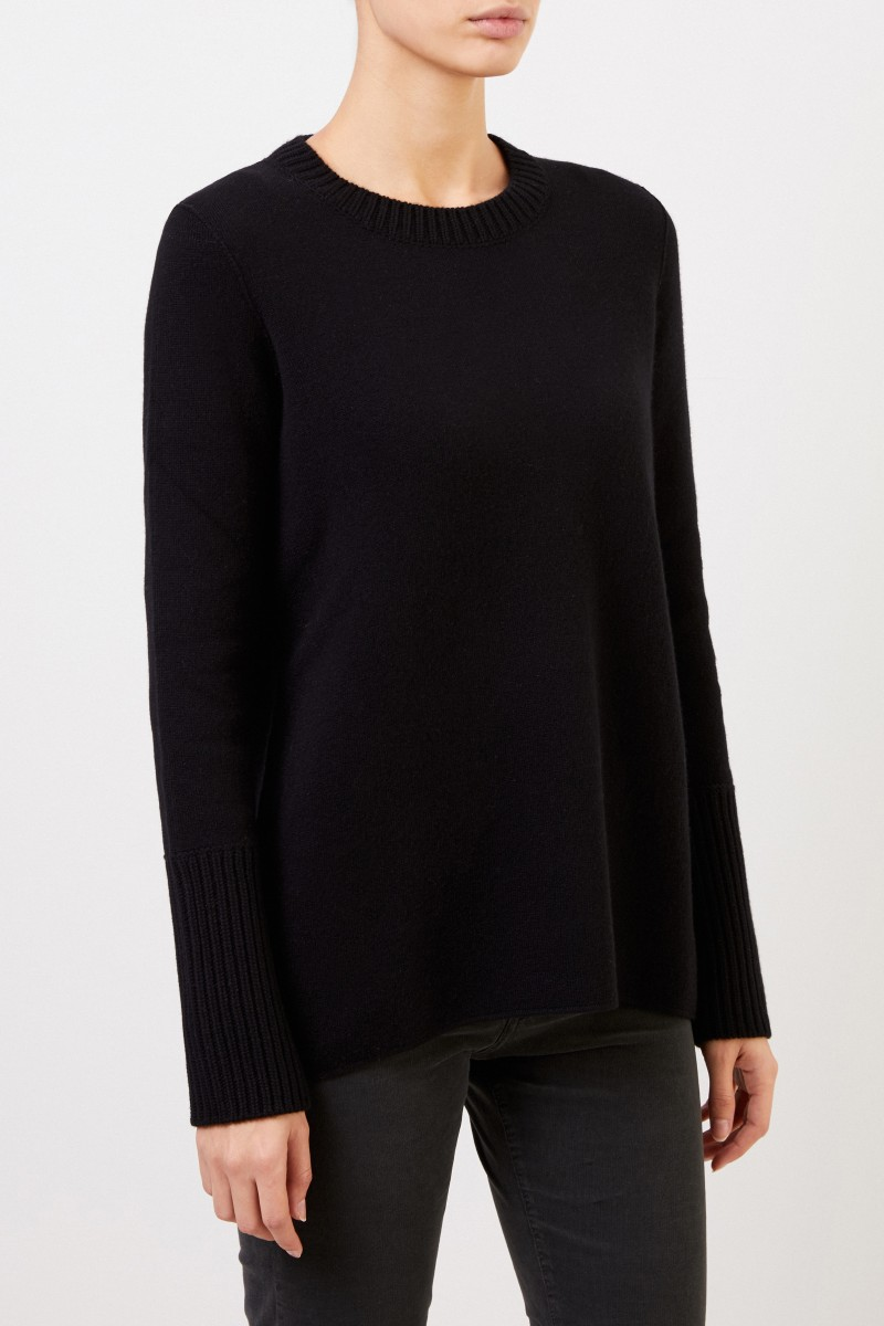 Cashmere-Doubleface-Pullover 'Posy' Schwarz