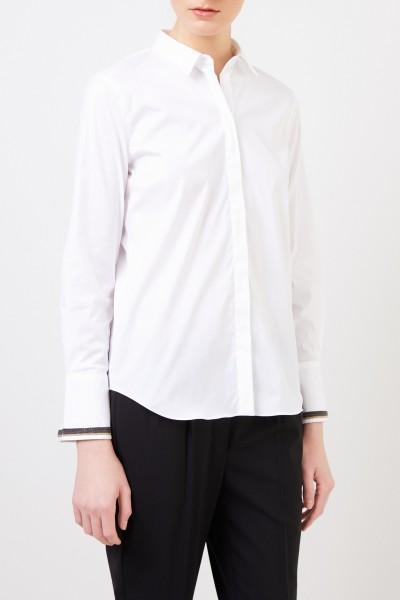 Brunello Cucinelli Cotton blouse with pearl decoration White