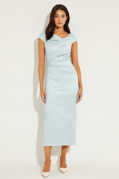 Langes Kleid mit Raffungen Aqua