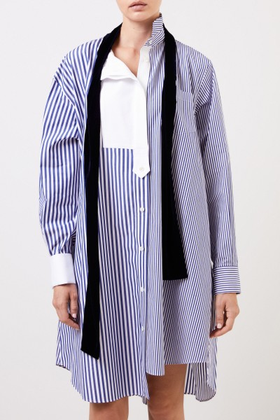Sacai Striped shirt blouse dress with tie details blue/white