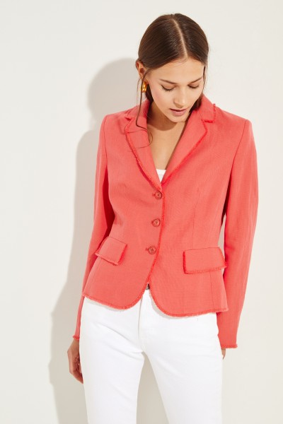 Linen-cotton-blazer 'Lindsey' Coral