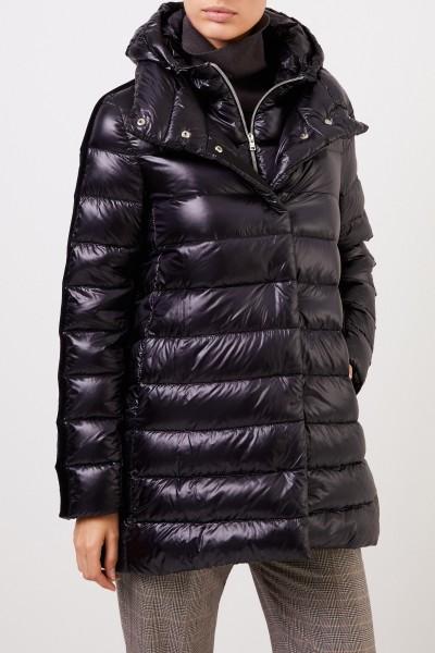 Herno Down coat with velvet details Black