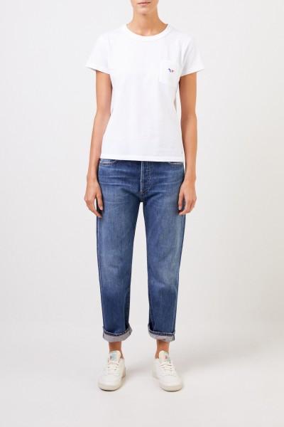 Maison Kitsuné T-Shirt 'Tricolor Fox Patch' with breast pocket White