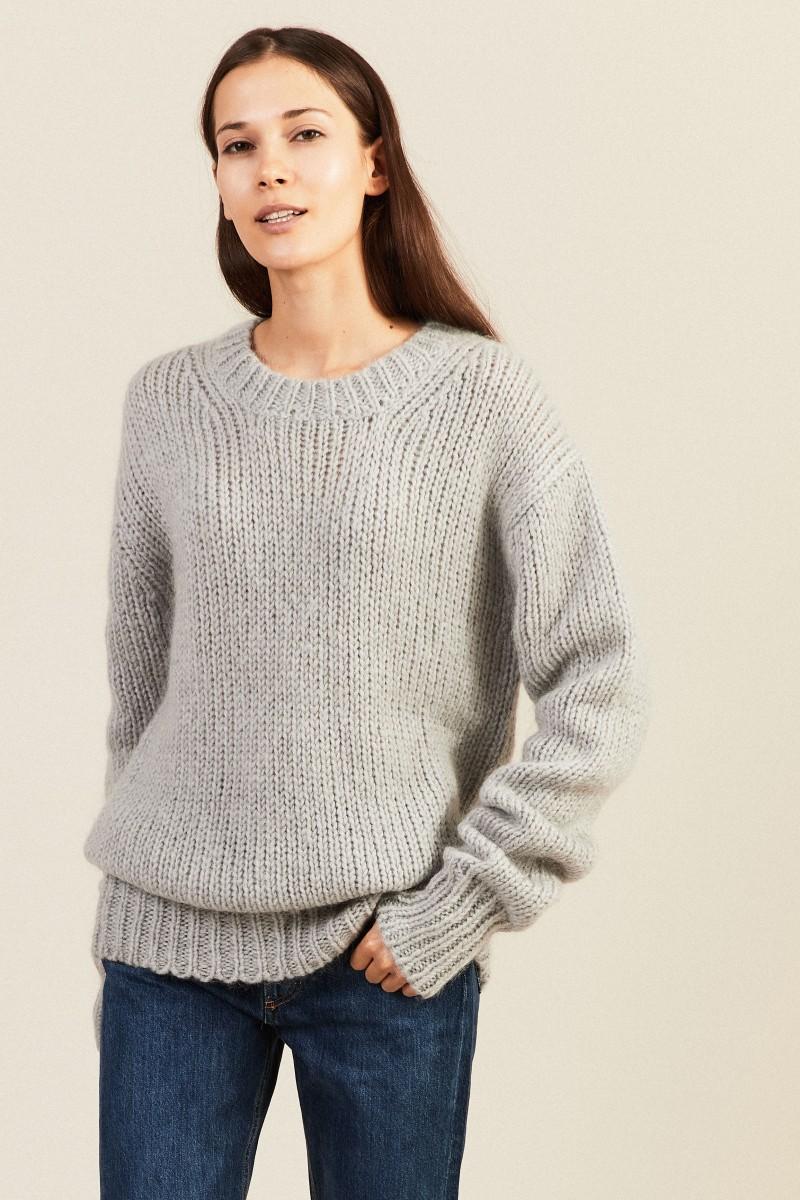 Mohair-Woll-Pullover Grau