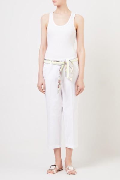 Baumwoll-Hose mit Gürtel Weiß