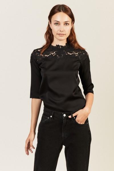 Seiden-Bluse mit Spitze Schwarz