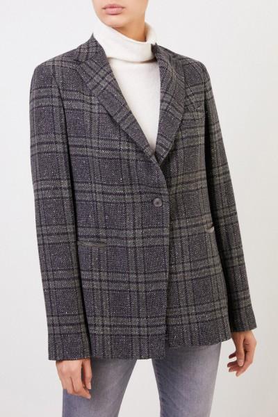 Fabiana Filippi Wool blazer with checked pattern and pearl decoration Grey/Multi