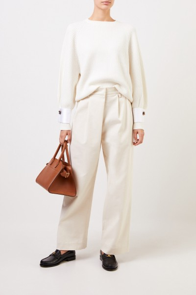 Brunello Cucinelli Cotton pleated trousers Beige