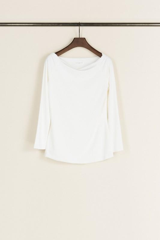 Langarmshirt mit Carmenausschnitt Weiß