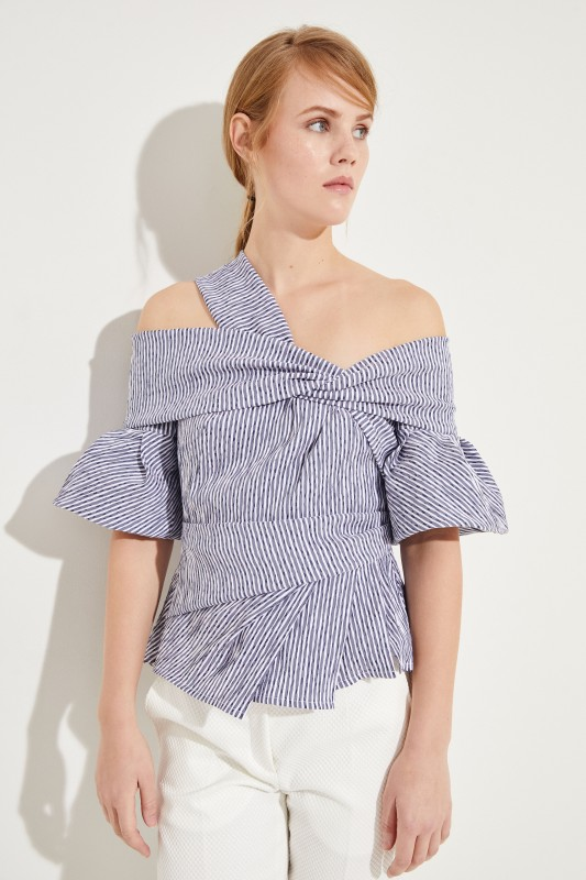 2cce25bc392e43 Striped top with cut-outs Blue White