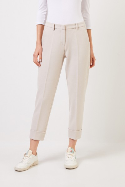Cambio Trousers 'Krystal' with hem cover Beige Melange