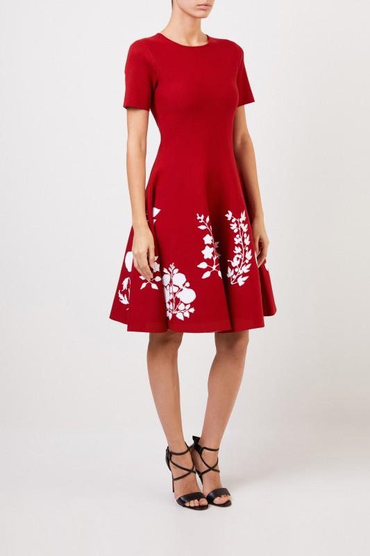 Oscar de la Renta Strickkleid mit floralem Print Rot/Weiß