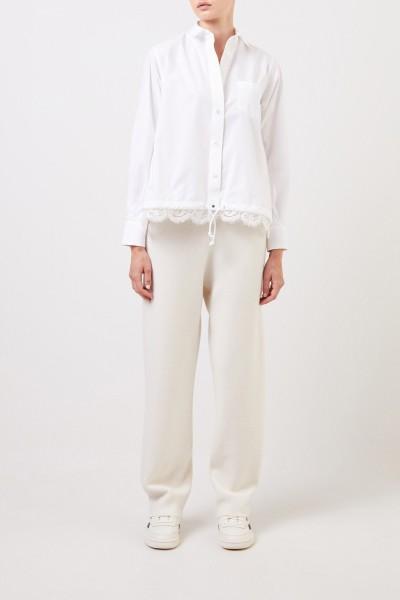 Sacai Gestreifte Bluse mit Spitzendetails Weiß