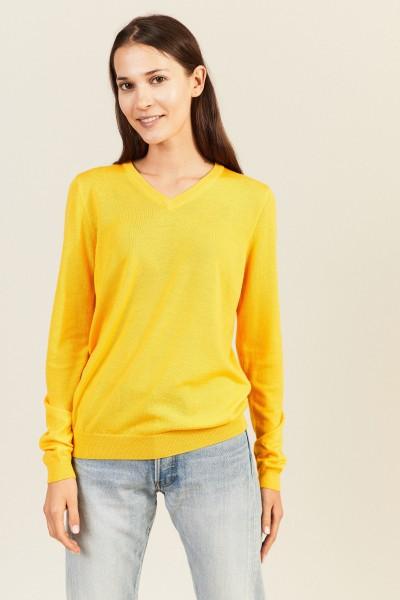 Woll-Pullover mit V-Neck Gelb