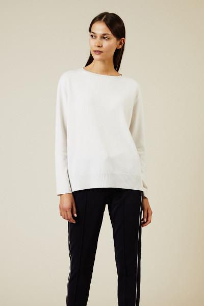 Woll-Seiden-Pullover mit Lurexdetails Weiß