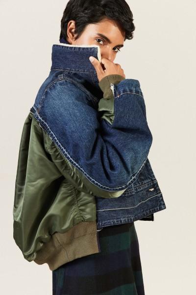 Jeansjacke mit Details Blau