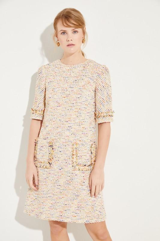 Tweed-Kleid mit Taschen Gelb/Multi