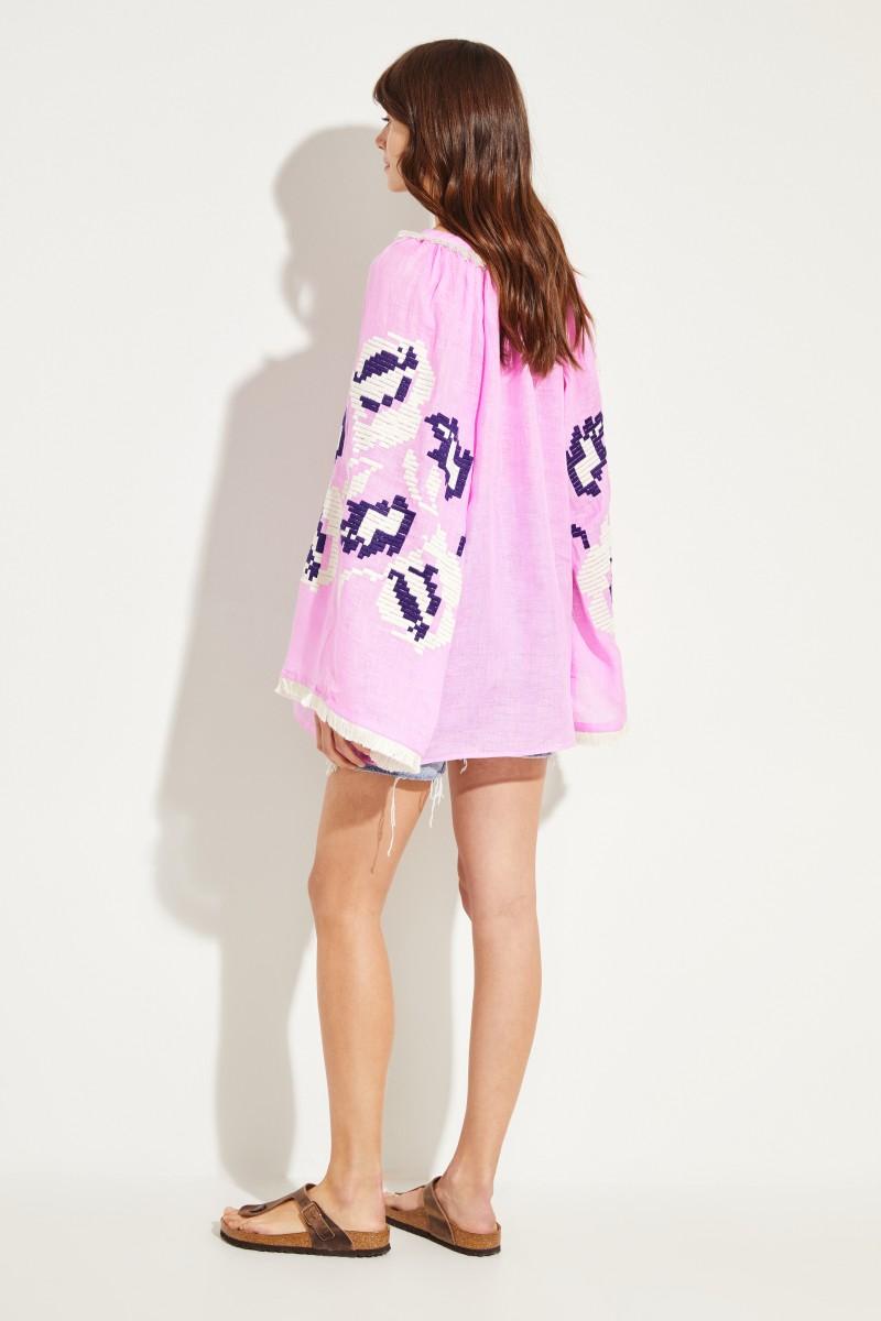 Leinen-Bluse 'Daniela' mit Stickerei Pink/Multi