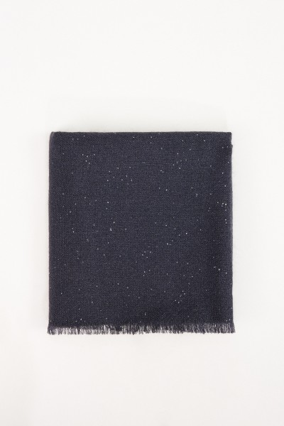 Brunello Cucinelli Silk-Mohair-Scarf with Sequined-Details Dark Blue