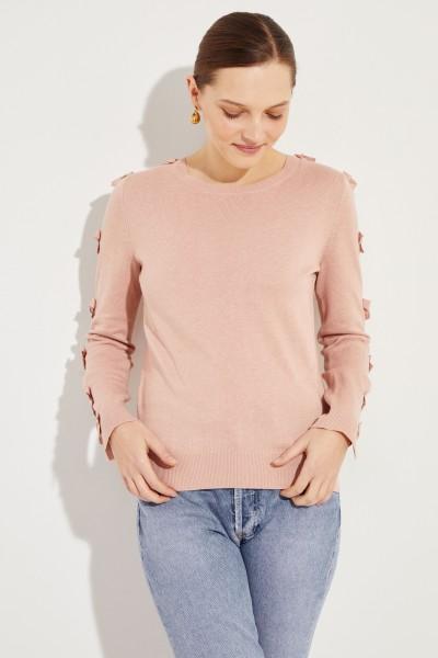 Pullover mit Schleifen-Details Rosé