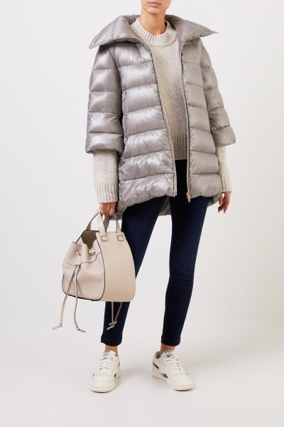 Down jacket with shortened sleeves Grey