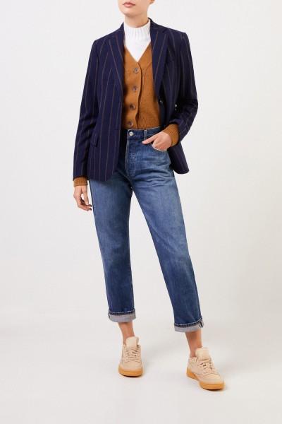 Aspesi Woll-Cashmere-Blazer mit Streifen Marineblau