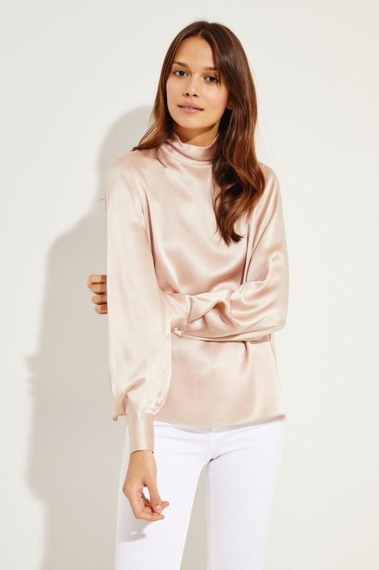 Seiden-Bluse mit Glanz Rosé