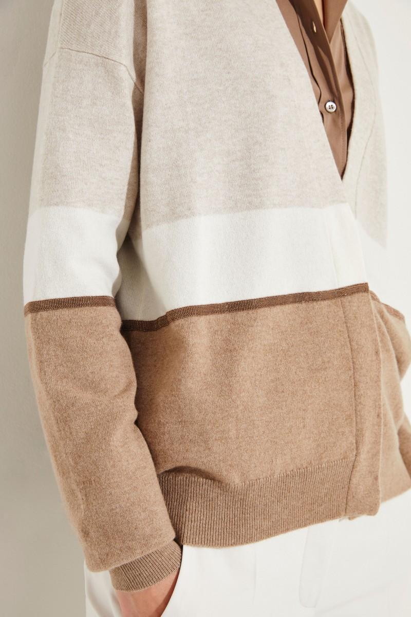 Cashmere-Cardigan mit Perlenverzierung Beige