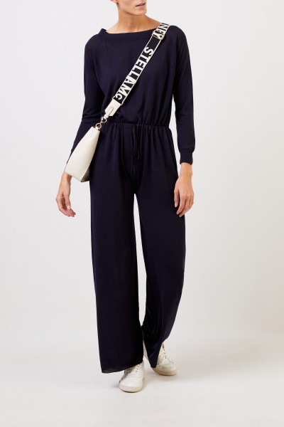 Wool jumpsuit with binding detail Navy Blue