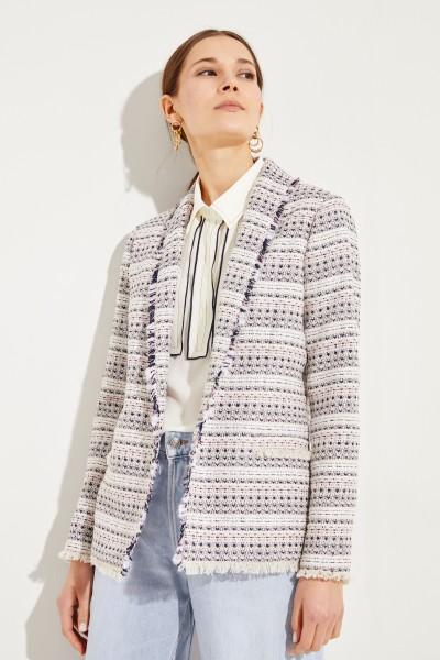 Langer Tweed-Blazer mit Paillettendetails Multi