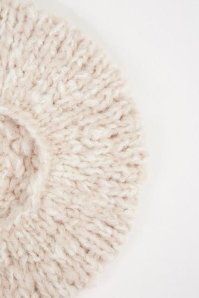 Iris von Arnim Handstrick-Baskenmütze 'Aloys' aus Cashmere Ecru/Natur