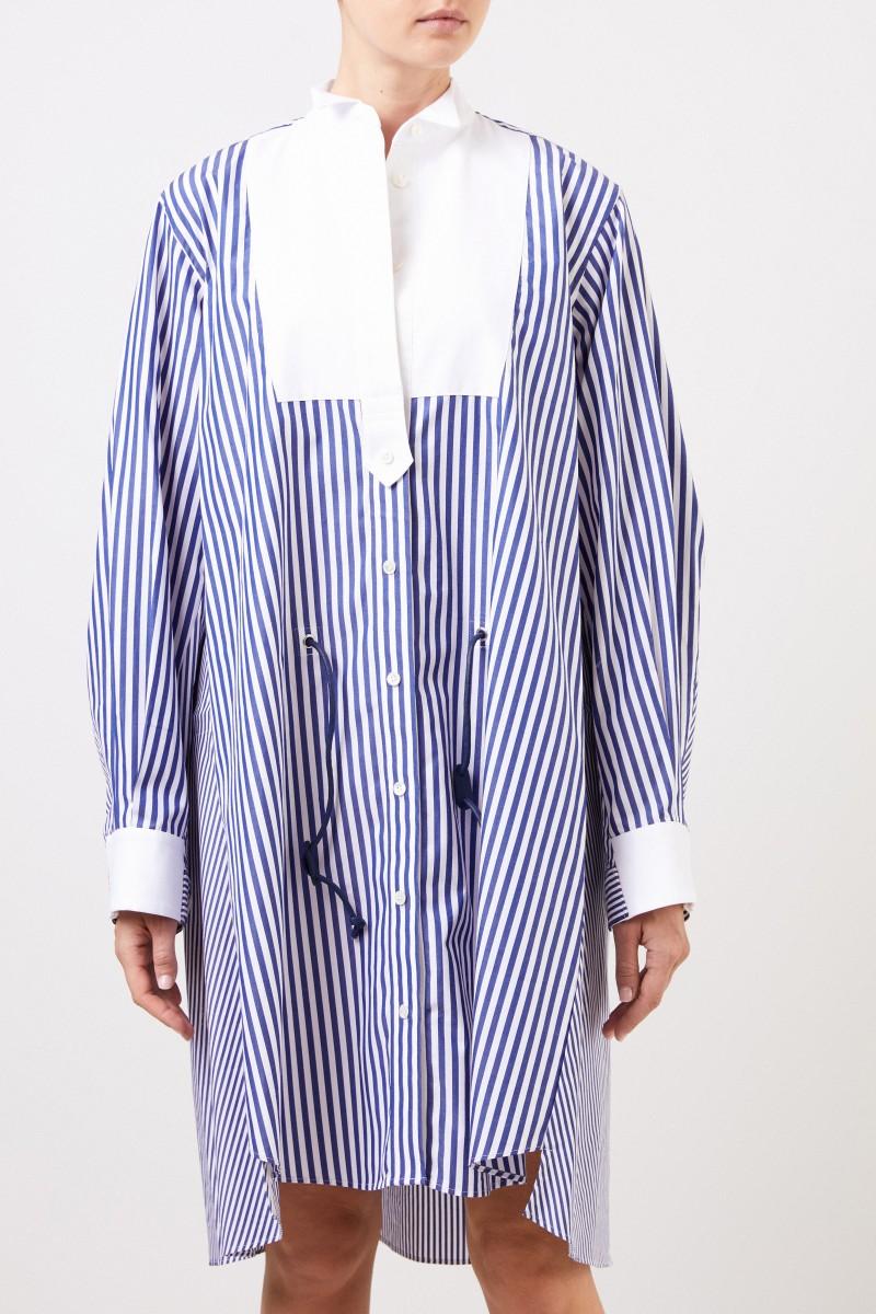 Sacai Gestreiftes Hemdblusenkleid Blau/Weiß