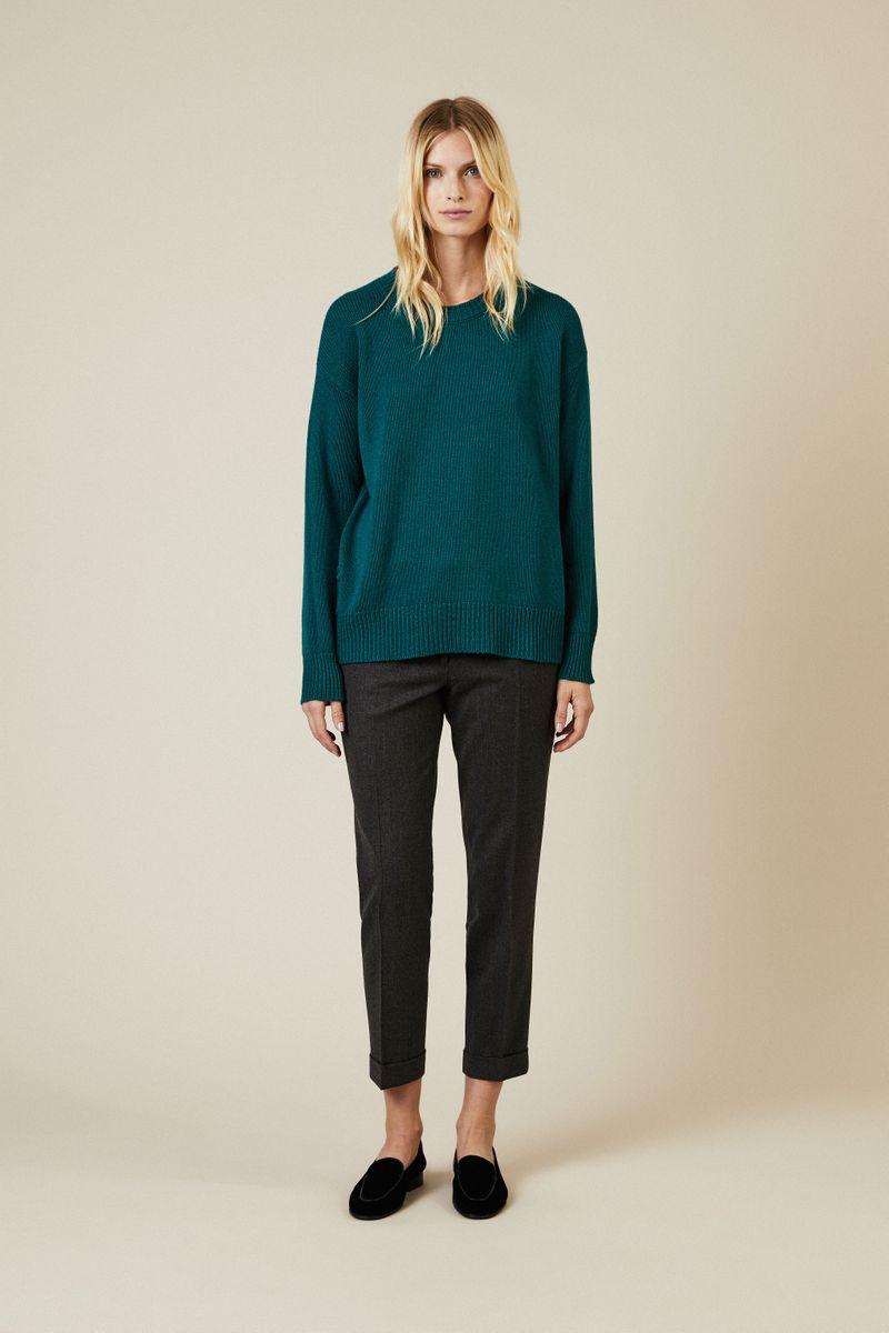 Pullover mit Knopfelement Grün