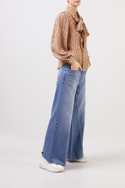 Ganni Klassische Bluse mit Bindedetail Beige/Multi