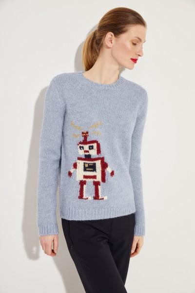 Woll-Pullover mit Strickmuster Blau/Multi