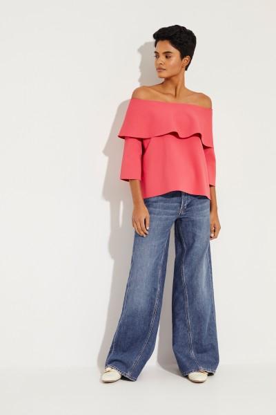 Stella McCartney Off-Shoulder Bluse mit Volant Pink