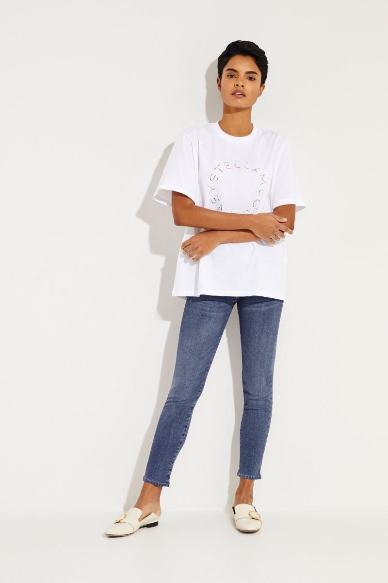 T-Shirt mit frontaler Applikation Weiß