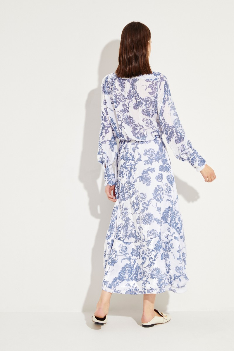 Samt-Wickelkleid mit floralem Muster Weiß/Blau