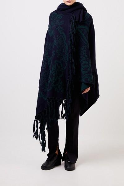 Sacai Asymmetrischer Woll-Cardigan mit Muster Navy/Grün