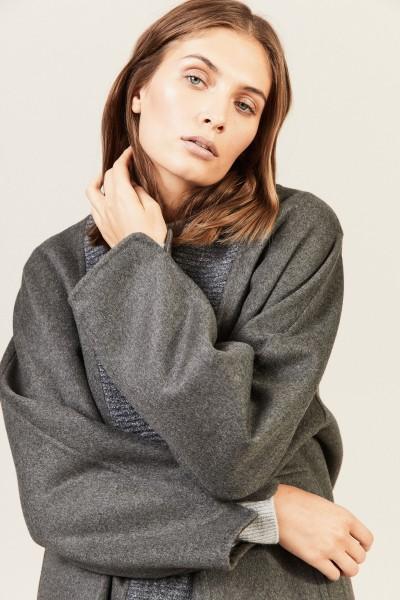 Oversize Woll-Cashmere-Mantel Grau
