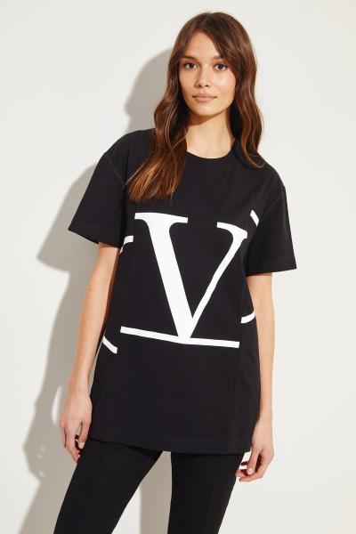 Cotton shirt with logo print Black/White